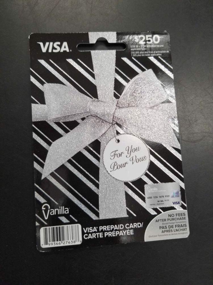 $250 Prepaid Visa Card