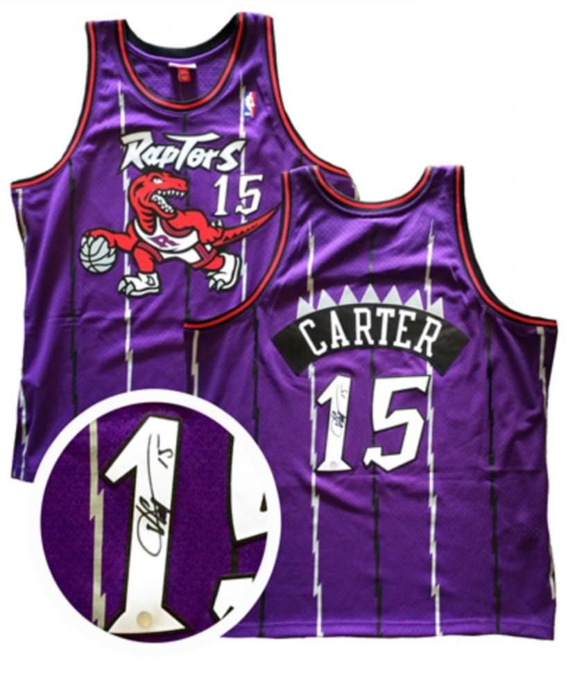 best cheap 47b01 9d641 Razzall | Vince Carter Autographed Jersey Raptors Replica ...